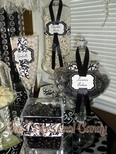 black and white theme candy bar i love the signs