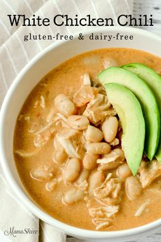 This easy and tasty Creamy White Chicken Chili recipe is gluten-free and dairy-f. - This easy and tasty Creamy White Chicken Chili recipe is gluten-free and dairy-free. With simple in - Chili Recipes, Soup Recipes, Dinner Recipes, Healthy Recipes, Dairy Free Recipes Easy, Dairy Free Dinners, Dairy Free Breakfasts, Crockpot Dairy Free, Dairy Recipes