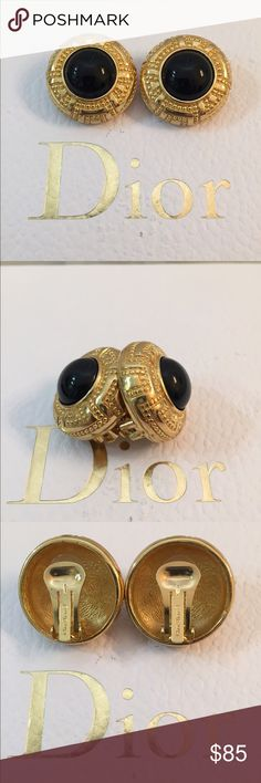 Authentic Christian Dior Gorgeous Clip on Earrings Authentic Christian Dior clip - on earrings, Black cabochon gemstone with Monogramed gold , in great condition, like new. Christian Dior Jewelry Earrings