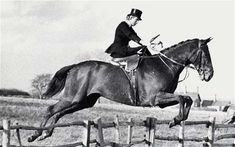 "Lady Margaret Fortescue (1923 - 2013) - A tiny, birdlike figure who invariably rode side-saddle, she went to the Midlands for fast hunting and perilous jumping (or ""leaping"", of which ""real"" hunting people disapprove). She was also known as a ""thruster"" — a member of the field who rides close to the staff or hounds. ""I know you are in a hurry to get to the front,"" one Master told her, ""but please don't keep barging everyone in the gateway — and could you stop your horse kicking mine again?"""