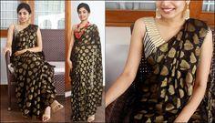 Black chiffon saree with gold threadwork Blouse- gold tissue