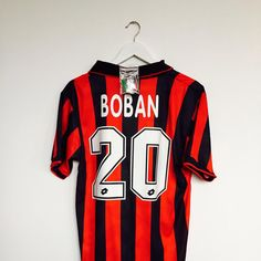 "Box 2 Box Football on Instagram: ""AVAILABLE NOW. @acmilan Boban #20. Over a hundred vintage shirts, exclusively from @cultkits and available here: www.box2boxfootball.com/shop. #acmilan #boban #cultkits #box2boxfootball #shop #footballshirt #soccerjersey #footballboots #soccerboots #design #fashion #vintage #lotto"""