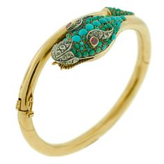 Victorian 18kt Pave Turquoise Diamond Dragon Bracelet