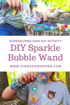 These glittery wands are easy for kids of all ages to make and would be a great activity for a birthday party, a playgroup, or just a day of family art-ing! #summerdiy #summeractivity #diybubbles #artsandcraftsforkids #summerfun Spring Arts And Crafts, Arts And Crafts Kits, Summer Camp Crafts, Rainy Day Crafts, Summer Diy, Creative Activities For Kids, Craft Projects For Kids, Easy Crafts For Kids, Diy For Kids
