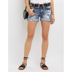 Machine Jeans Destroyed Denim Shorts ($20) ❤ liked on Polyvore featuring shorts, medium wash denim, distressed jean shorts, cuffed denim shorts, ripped jean shorts, cuffed shorts and destroyed shorts