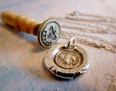 Bee Silent Mini Wax Seal Necklace. Recycled Fine Silver Victorian Pendant. Handmade Bee Jewelry