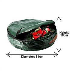 Christmas Wreath Large Storage Bag Waterproof Zipped Round Bag With Handle Green Large Storage Bags, Bag Storage, Christmas Tree Storage Bag, Xmas Wreaths, Round Bag, Garland, Green, Handle, Ebay