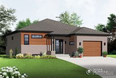 Discover the plan 3281 - Darnell from the Drummond House Plans house collection. 2 bedroom Modern Split level house plan with open floor plan, garage, laundry on main floor, open concept. Total living area of 1283 sqft. Contemporary House Plans, Contemporary Style Homes, Modern House Plans, Small House Plans, Contemporary Bedroom, Modern House Design, Modern Houses, Bedroom Modern, Split Level House Plans