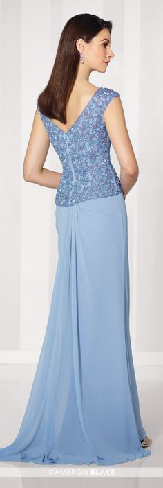 Cameron Blake - 216686 - Chiffon slim A-line gown with cap sleeves, front and back V-necklines, hand-beaded bodice with inverted Basque waistline, side draped skirt with cascading ruffle, sweep train. Matching shawl included.Sizes: 4 - 20Colors: Light Periwinkle, Mink, Navy Blue