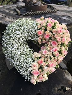 pretty rose heart flower tribute bespoke funeral flowers www.thefloralartstudio.co.uk