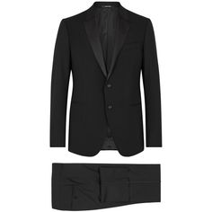 Emporio Armani Black Satin-trimmed Stretch-wool Suit (50,550 THB) ❤ liked on Polyvore featuring men's fashion, men's clothing, men's suits and mens 3 button suits