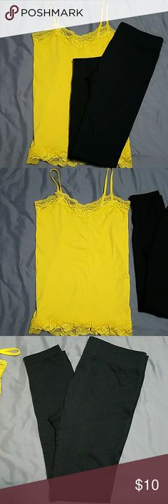 NWOT cami and legging outfit Size medium yellow lace camo and  Size sm/med black leggings NWOT Other