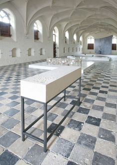 Nina Beier & Marie Lund 'The Object Lessons' Installation view, De Vleeshal, Middelburg, 2009 Curated by Lorenzo Benedetti ◊ Laura Bartlett Gallery Small Bathroom Tiles, Elements Of Design, Stone Tiles, Lund, Floor Design, Installation Art, Building A House, Tile Floor, Studio Spaces