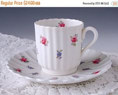 ON SALE... Spode Copelands Dimity Tea Cup and Saucer, Demitasse Demi Teacup Set, England, English Bone China, Pink Roses, Scalloped Edge, 19