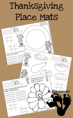 FREE Thanksgiving Placemat Printables