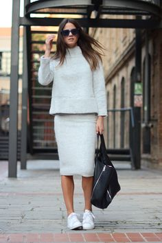 Grey Is A Trend --- Zina Charkoplia is wearing a grey skirt and top from Zara, sneakers from Adidas, sunglasses from Marc Jacobs and the bag is from Celine