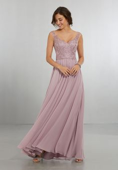 Chiffon Bridesmaids Dress with Intricately Embroidered and Beaded Bodice