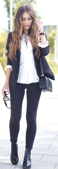 Lydia Elise Millen Black And White Girly Chic Fall Inspo