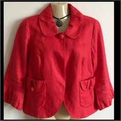 💕Reduced💕 J. Crew red jacket Red jacket/blazer by J.Crew. Size 6. Has 3/4 sleeves with ruffle accent. Peter Pan collar. Two from pockets with decorative buttons. Excellent used condition!  100% Linen 💕 J. Crew Jackets & Coats Blazers