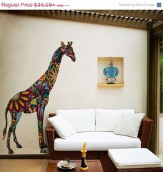 ON SALE Giraffe Wall Graphic Sticker Decal - Colorful Floral Giraffe Wall Mural (stk1104) on Etsy, $29.59