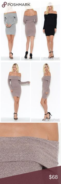 🆕🎀 Off the Shoulders Sweater Dress ❌No Trades❌ ✅Discounts on bundles ✅Reasonable offers will be considered via the offer option only. Description: Off Shoulder Sweater Dress  Fabric: 76% Rayon 21%Poly 3%Spandex only 1 of each size per color. Chic Fashion Dresses Midi