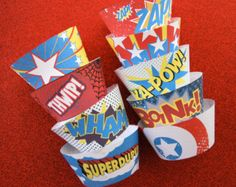Super Hero PDF Printable Party Cupcake Wrappers  DIY