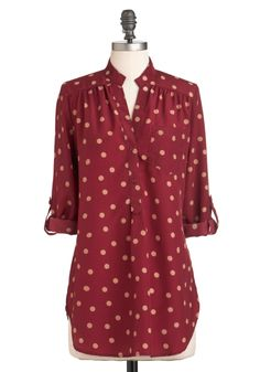 Hosting for the Weekend Top - Red, Tan / Cream, Polka Dots, Buttons, Pockets, Casual, 3/4 Sleeve, Long, Fall, Top Rated