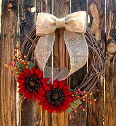 Fall Sunflower Wreath Wreaths Fall Wreath Fall by Frontporchdecor, $40.00