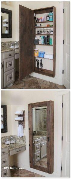 DIY Bathroom mirror storage case that holds everything. - 17 Repurposed DIY Bathroom Storage Solutions-- --not for just the bathroom. Bathroom Storage Solutions, Home Projects, Bathroom Makeover, Woodworking Projects Diy, Bathroom Mirror Storage, Home Diy, Medicine Cabinet Mirror, Bathrooms Remodel, Bathroom Mirrors Diy