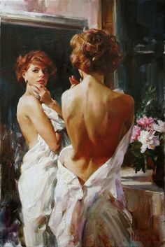 Artists: Michael and Inessa Garmash, oil on canvas {contemporary figurative art mirror beautiful female standing redhead woman posterior back painting} Reflection !!