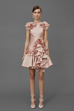 Marchesa Pre Fall 2016 Party Dress Red Carpet Pink