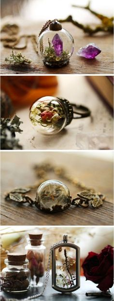 Kay Bells searches landscapes high and low to find the raw materials for her whimsical jewelry. She takes her findingswhich include flowers moss and crystalsand places them in vintage-style lockets orbs rings and bracelets. Cute Jewelry, Diy Jewelry, Unique Jewelry, Vintage Jewelry, Jewelry Accessories, Handmade Jewelry, Jewelry Design, Jewelry Making, Unique Bracelets