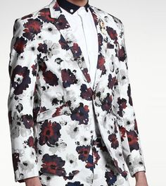White Red Charming Floral Petals Blazer