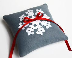 Snowflake Winter Wedding Ring Bearer Pillow Grey by LilliansGarden, $32.00