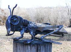 Cricket Metal Sculpture Yard Art Garden Art Found Objects. Etsy.