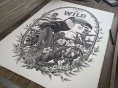 """into the wild artwork. Xavier Casalta is a 22-year-old artist from the South of France. Whilst studying typography he discovered pointillism – a technique where tiny dots are applied to a surface to create a full image – and hasn't looked back since! Casalta created """"Into the Wild"""" with a .10mm nib. It took him 380 hours to apply the 6,000,000 dots to create the final piece and we think it's awesome!"""