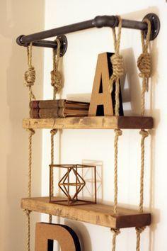 """Industrial Pipe & Rope Shelf, 17"""" Width, Industrial Pipe Shelf, Industrial…"""