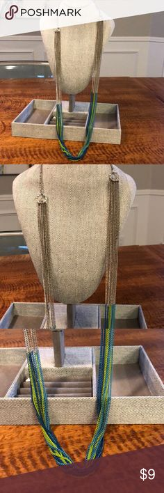 Silver Multi-Strand Necklace Dipped in Color Finish is professionally done (ie. Came that way... Not done by me!). Condition is excellent! Colors are teal, lime green and aqua Boutique Jewelry Necklaces