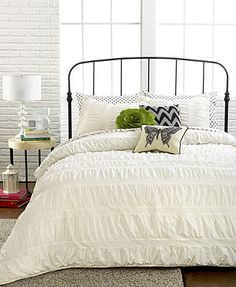 Ruched Stripes Ivory 3 Piece Comforter And Duvet Cover Sets Doesnu0027t SAY  Cotton.