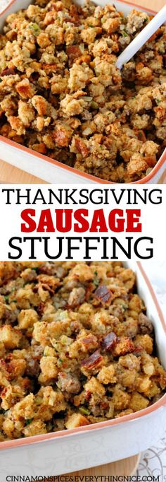Sausage Stuffing The BEST Thanksgiving Sausage Stuffing - my Mom's recipe - stuff a turkey or bake it.The BEST Thanksgiving Sausage Stuffing - my Mom's recipe - stuff a turkey or bake it. Stuffing Recipes For Thanksgiving, Thanksgiving Cakes, Holiday Recipes, Best Turkey Stuffing, Potato Stuffing Recipes, Easy Thanksgiving Side Dishes, Best Food Recipes, Christmas Stuffing, Gastronomia