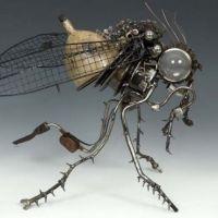 Unique sculptures made using auto parts