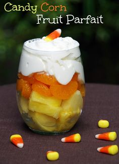 Healthy Halloween Dessert: Candy Corn Fruit Parfait - Suburbia Unwrapped