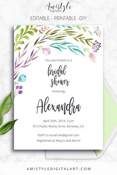 Printable Bridal Shower Invitation card - with watercolor leaves by Amistyle Digital Art on Etsy
