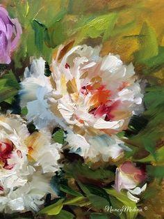 """Daily Paintworks - """"Peonies in Bloom - Flower Paintings by Nancy Medina"""" - Original Fine Art for Sale - © Nancy Medina"""
