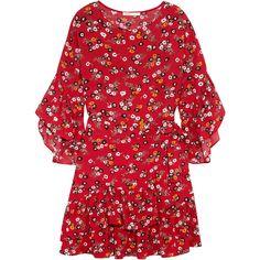 Maje Ruffled floral-print crepe mini dress found on Polyvore featuring dresses, orange, flutter-sleeve dress, short dresses, short ruffle dress, orange floral dress and colorful dresses