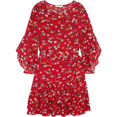 Maje Ruffled floral-print crepe mini dress (735 BRL) ❤ liked on Polyvore featuring dresses, orange, colorful dresses, short floral dresses, red ruffle dress, red dress and red mini dress