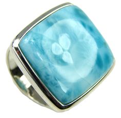 $129.15 Atlantis Stone! AAA Blue Larimar Sterling Silver Ring s. 7 1/4 at www.SilverRushStyle.com #ring #handmade #jewelry #silver #larimar