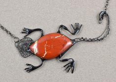 Red jasper necklace lizard natural noreena jasper gemstone large necklace statement Australian aboriginal sculpture jewelry designer nature