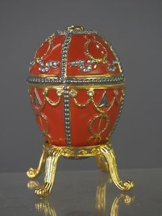 """Faberge Style Painted Egg by Ardleigh Elliott, 4"""" tall."""
