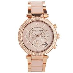 b6aa1fc70ed5 Color  Rose Gold-Tone Bezel With Crystal Accents Stainless Steel Case    Blush Pink Dial   Rose Gold-Tone Bracelet with Blush Acetate Center Links.